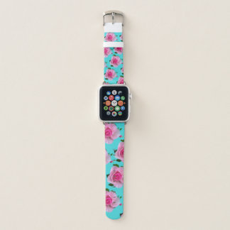 Pink Roses On Teal Apple Watch Band