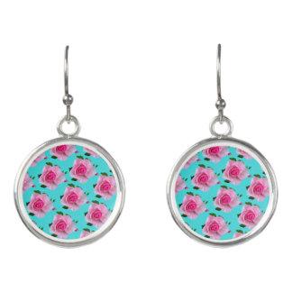pink roses on teal earrings