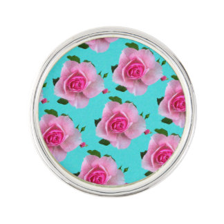 pink roses on teal lapel pin