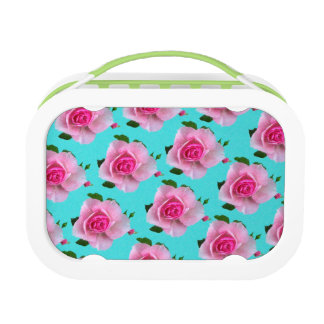 pink roses on teal lunch box