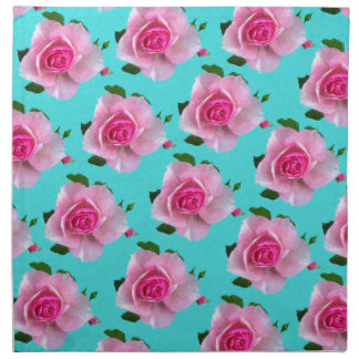 pink roses on teal napkin