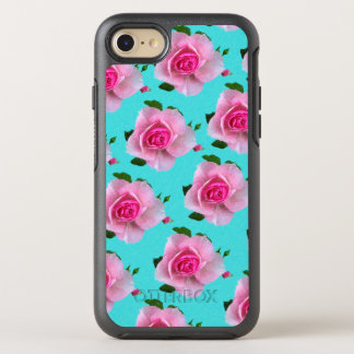 pink roses on teal OtterBox symmetry iPhone 8/7 case