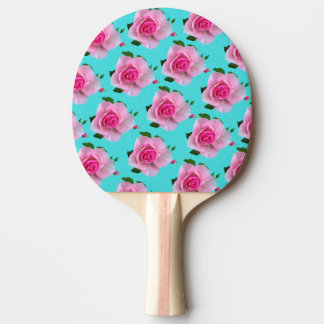 pink roses on teal ping pong paddle
