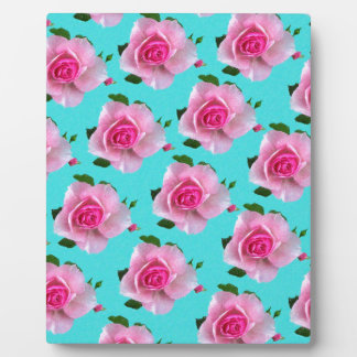 pink roses on teal plaque