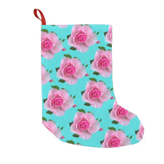pink roses on teal small christmas stocking