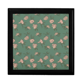 Pink Roses on Turquoise Large Square Gift Box