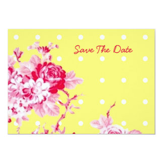 Pink Roses On Yellow Save The Date 5x7 Paper Invitation Card