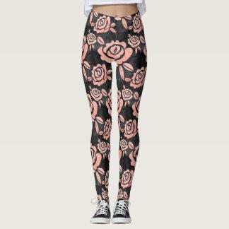 Pink Roses ona a Black Backround Leggings