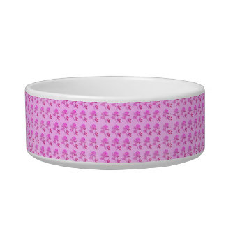 Pink Roses pattern Cat Food Bowl