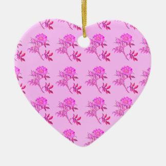 Pink Roses pattern Ceramic Heart Decoration