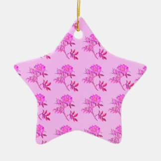 Pink Roses pattern Ceramic Star Decoration