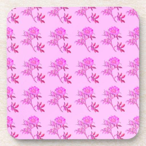Pink Roses pattern Drink Coasters