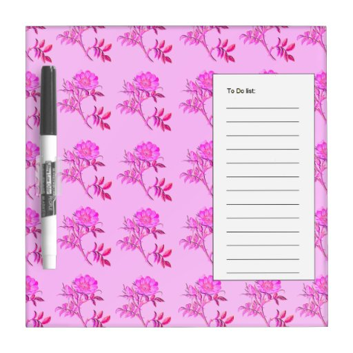 Pink Roses pattern Dry Erase Board