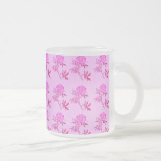 Pink Roses pattern Frosted Glass Mug