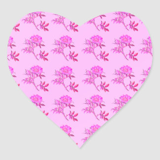 Pink Roses pattern Heart Sticker