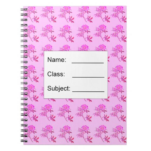 Pink Roses pattern Spiral Notebooks