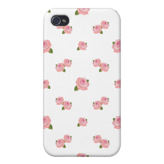 Pink Roses Pattern on White iPhone 4 Case