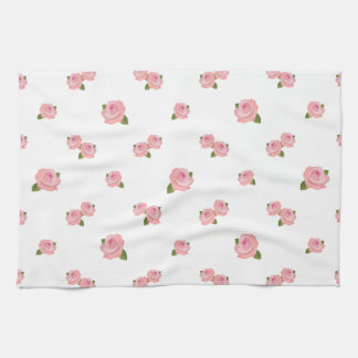 Pink Roses Pattern on White Kitchen Towels