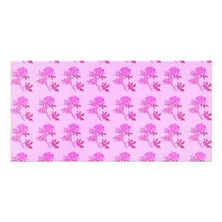 Pink Roses pattern Photo Card Template