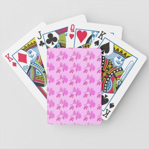 Pink Roses pattern Poker Deck