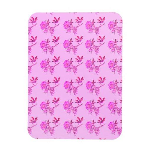 Pink Roses pattern Vinyl Magnets