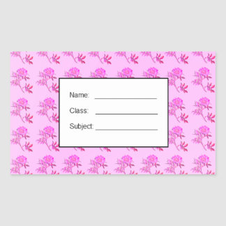 Pink Roses pattern Rectangular Sticker