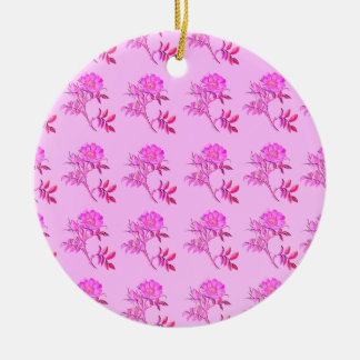 Pink Roses pattern Round Ceramic Decoration