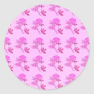 Pink Roses pattern Round Sticker