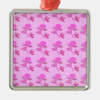 Pink Roses pattern Silver-Colored Square Decoration