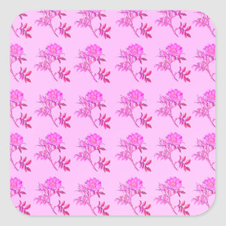 Pink Roses pattern Square Sticker
