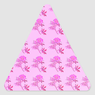 Pink Roses pattern Triangle Sticker