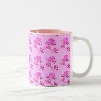 Pink Roses pattern Two-Tone Mug
