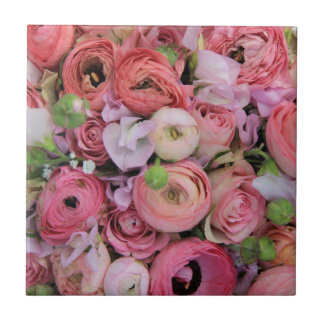 pink roses & peonies by Therosegarden Ceramic Tile