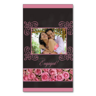 pink roses photo engagement announcement magnetic business cards