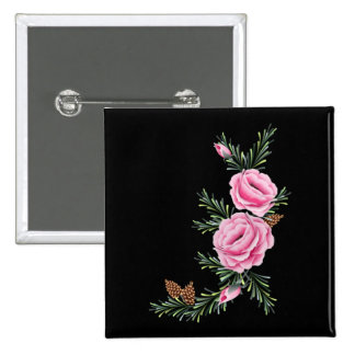 PINK ROSES & PINE by SHARON SHARPE 15 Cm Square Badge