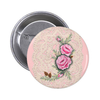 PINK ROSES & PINE by SHARON SHARPE 6 Cm Round Badge