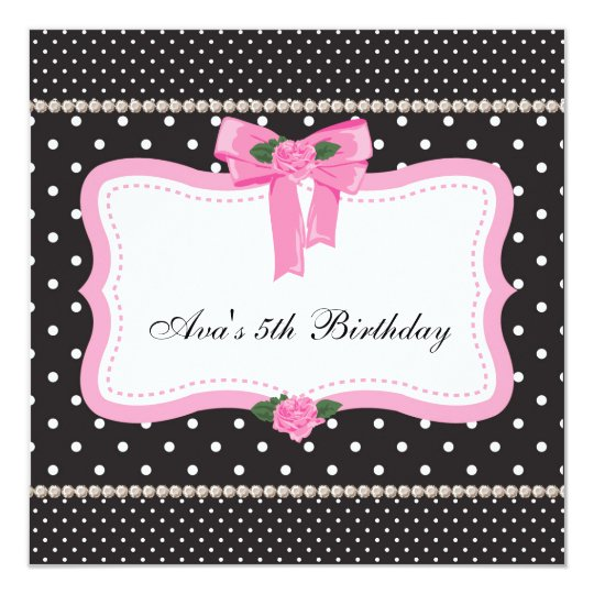 Pink Roses Pink Black Girls 5th Birthday Party Card