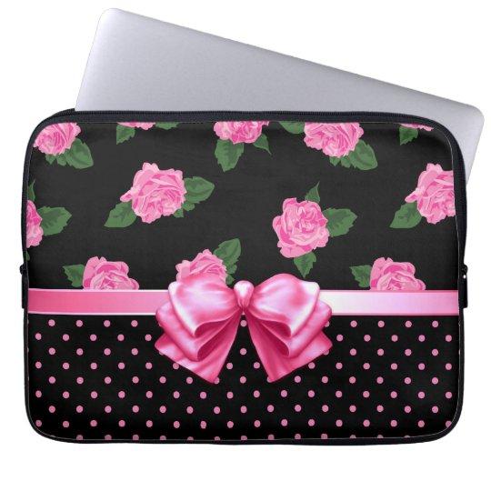 Pink Roses & Polka Dots Laptop Sleeve