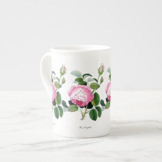 Pink Roses Redoute Watercolor Bone China Mug