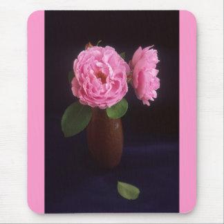 Pink Roses Rose Flower Brown Vase Mouse Pad