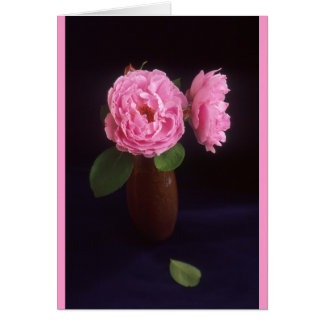 Pink Roses Rose Flower In Brown Vase Greeting Card