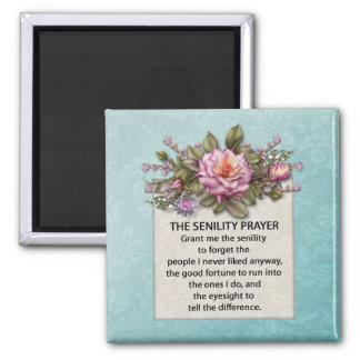 Pink Roses Senility Prayer Magnet