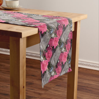 Pink Roses Short Table Runner