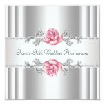Pink Roses Silver 25th Wedding Anniversary 13 Cm X 13 Cm Square Invitation Card
