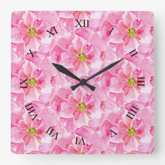 Pink Roses Square Wall Clock