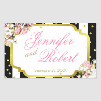 Pink Roses, Stripes and Confetti Rectangular Sticker