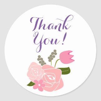 Pink Roses, Tulips, Flowers Bouquet Thank You Classic Round Sticker