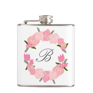 Pink Roses, Tulips, Flowers Wreath, Bridal Hip Flask