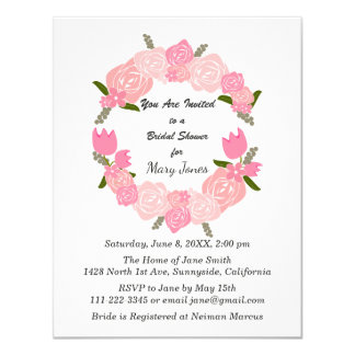 Pink Roses, Tulips, Flowers Wreath, Bridal Shower Card