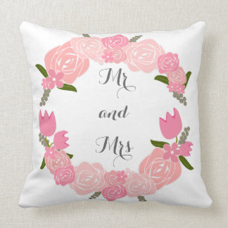 Pink Roses, Tulips, Flowers Wreath Mr and Mrs Throw Pillow